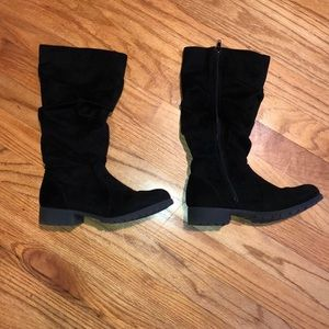 Justice black faux suede knee boots